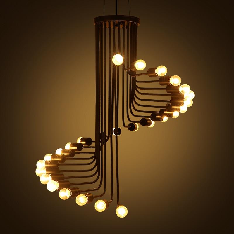 Industrial Style Staircase Spiral Pendant light for Dining Room Modern Loft Black Pendant Lamps  Bar Restaurant Light E27 Socket