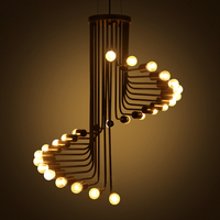 Industrial Style Staircase Spiral Pendant light for Dining Room Modern Loft Black Pendant Lamps Bar Restaurant Light E27 Socket