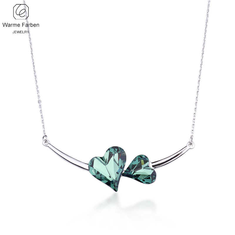 WARME FARBEN Fashion Jewelry Women Necklace Crystal from Swarovski Double  Heart Pendant Necklace Gift for Female 8c3d390dd5ef