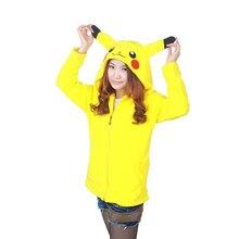 Moda Historieta de Kawaii Hotsale Pikachu Capucha Anime Mujeres Sudaderas Con Capucha Hombre Chaqueta de Anime Cosplay Traje Con Capucha Sweatershirt
