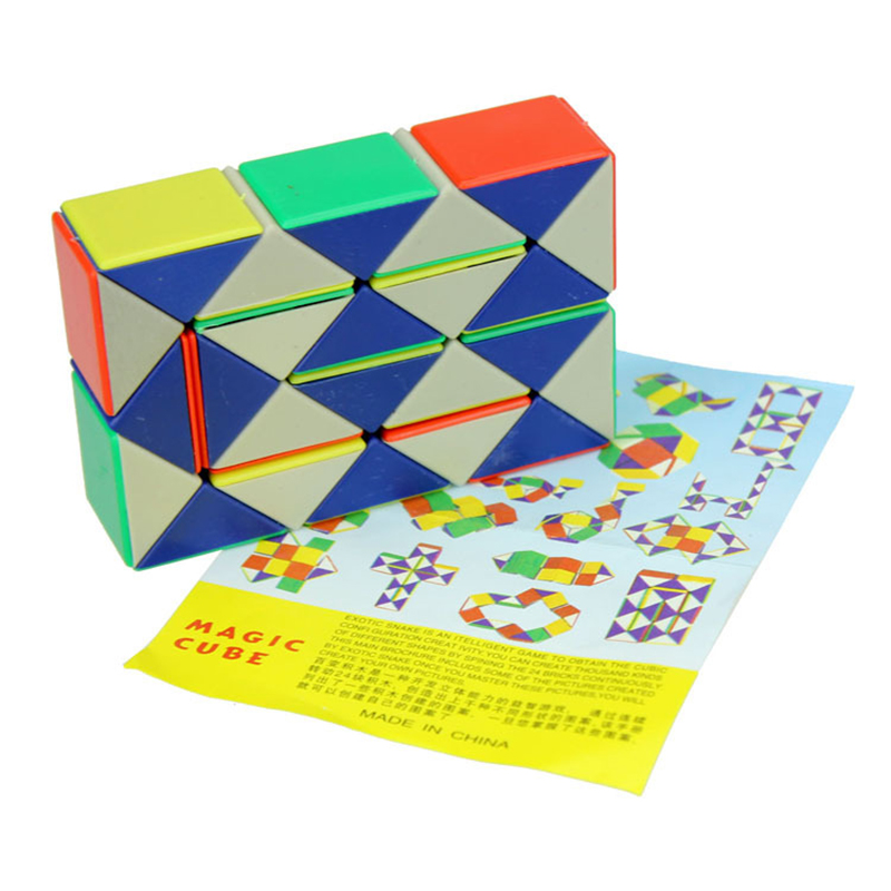 24 Blocks Snake Magic Cube Twist Jigsaw Puzzle Speed Magic Ruler 3D Snake Toys Children Educational Toys Special Christmas Gifts