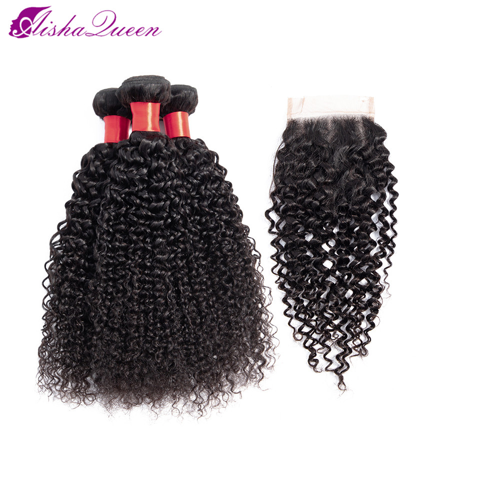 Aisha Queen Kinky Curly Wave 3 Bundles With Closure Non Remy Peruvian Human Hair Bundles With