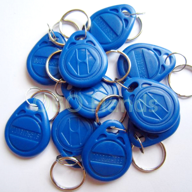 125KHz Blue color RFID  Key Fob for Access Control System EM4100/TK4100 ID keycard read only waterproof (pack of 100)