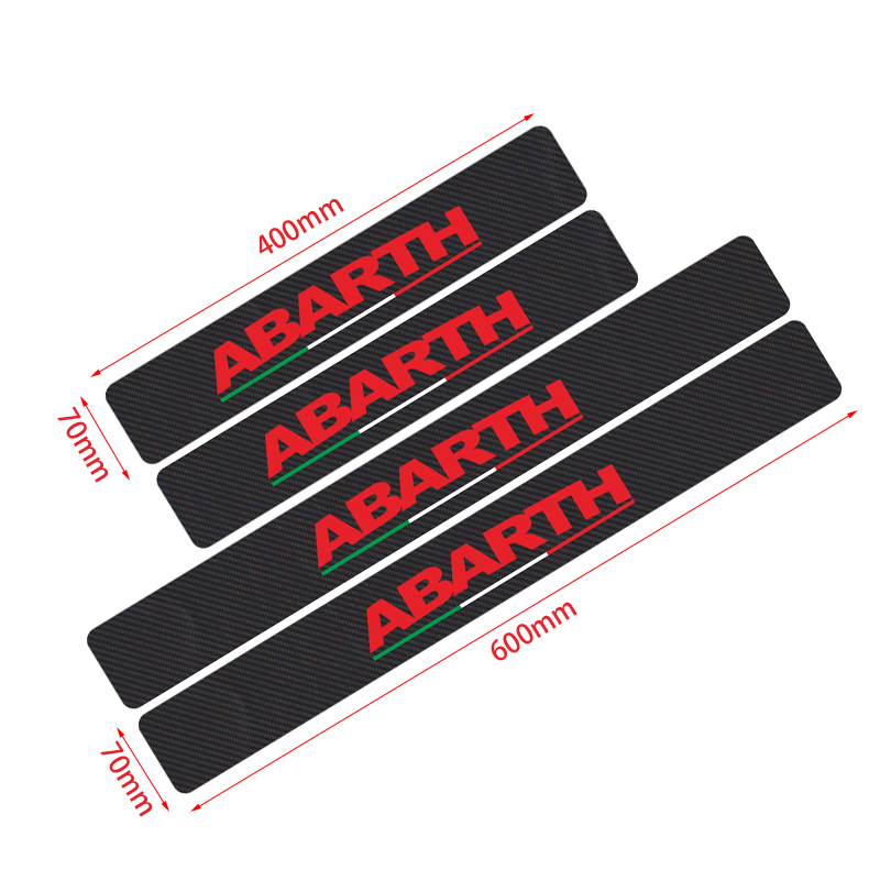 Image 2 - Car Styling Abarth 4pcs Italy Flag stickers Carbon Fibre car door sill protector sticker for Fiat Viaggio Punto 124 125 500-in Car Stickers from Automobiles & Motorcycles