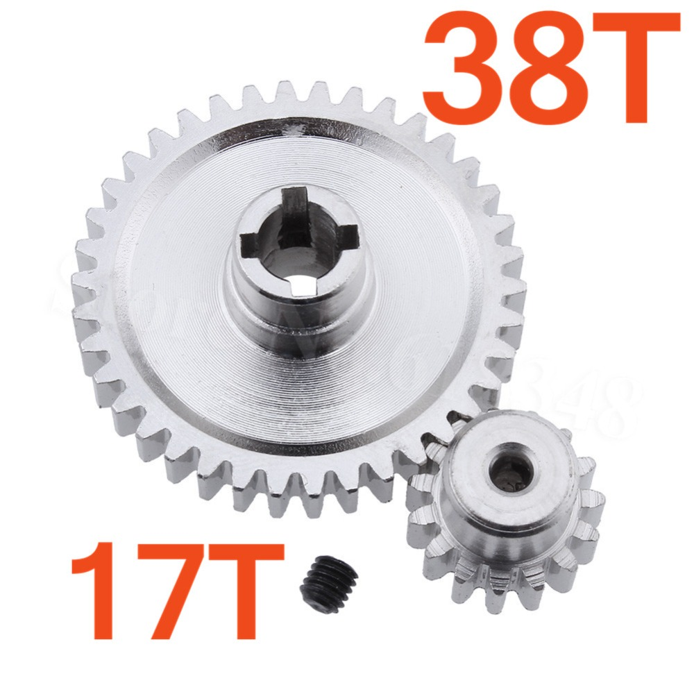 Steel Metal Diff Main Gear 38T & Motor Gear 17T For RC 1/18 WLtoys A949 A959 A949 A959 A969 A979 RC Car Buggy Truck HSP 11184 steel metal spur diff main gear 64t motor pinion gears 17t 21t 26t 29t 11189 11176 11181 11119 for rc hsp redcat rc truck