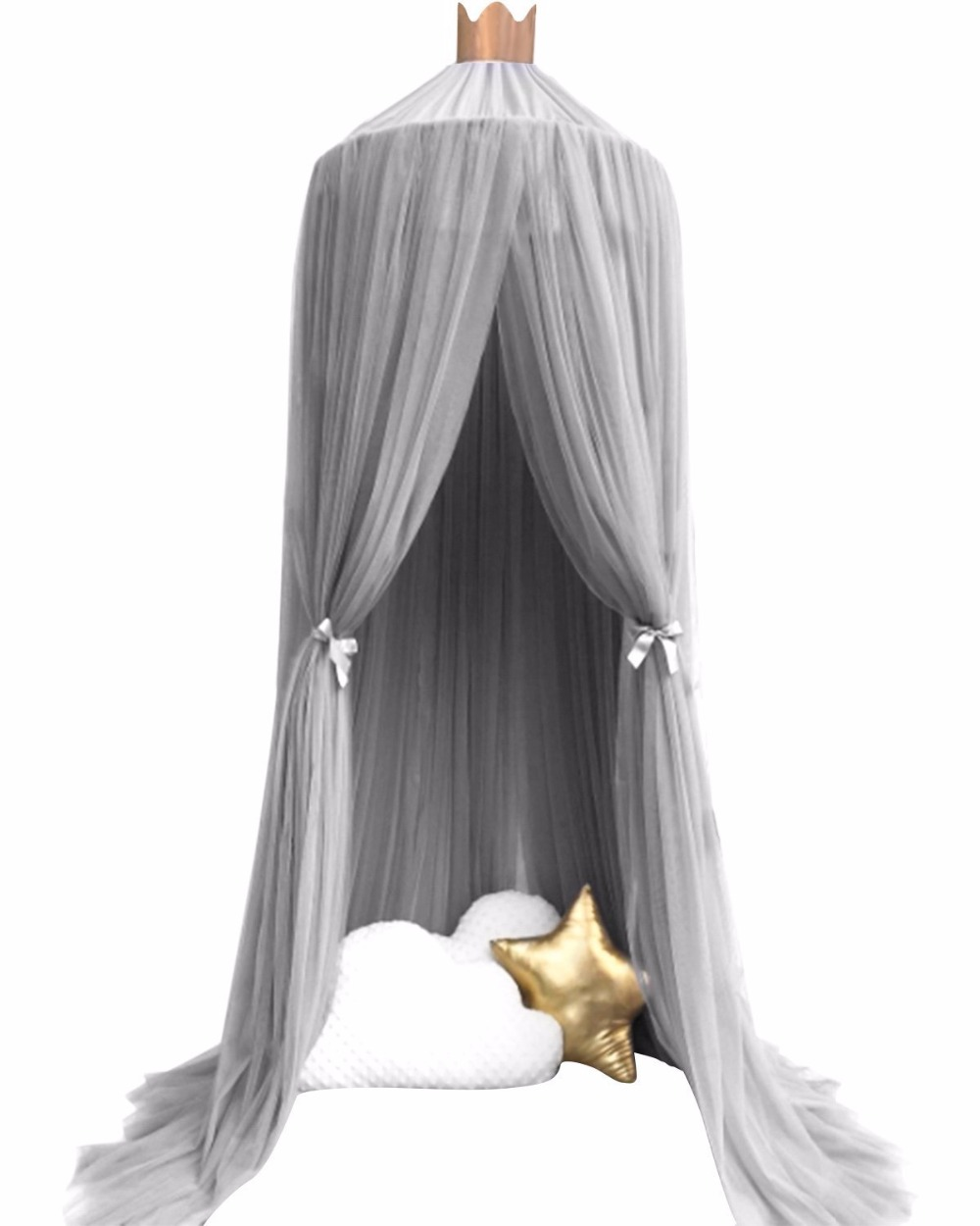 10 Layers 3 Colors Pink Gray And White Gauze Toddler Kids Mosquito Net Princess Bed Canopy Dome Netting