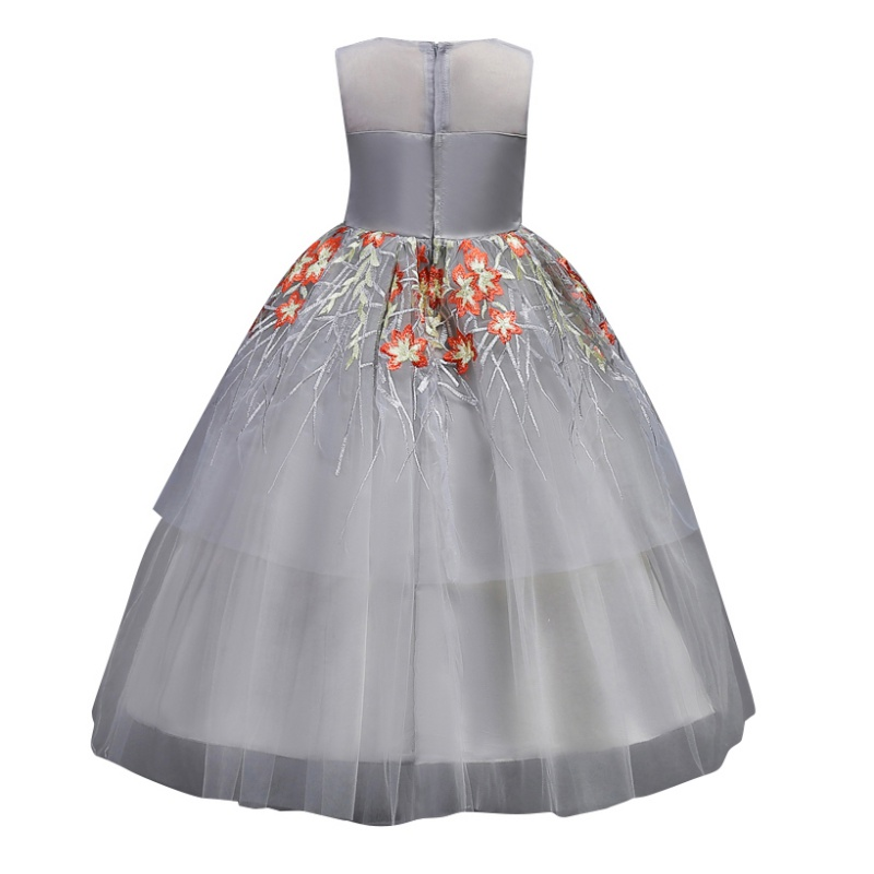 Dress Summer Lace Embroidered Sleeveless Gauze Dress For Girl 3 Colors Perform Host Flower Fairy Princess Dresses