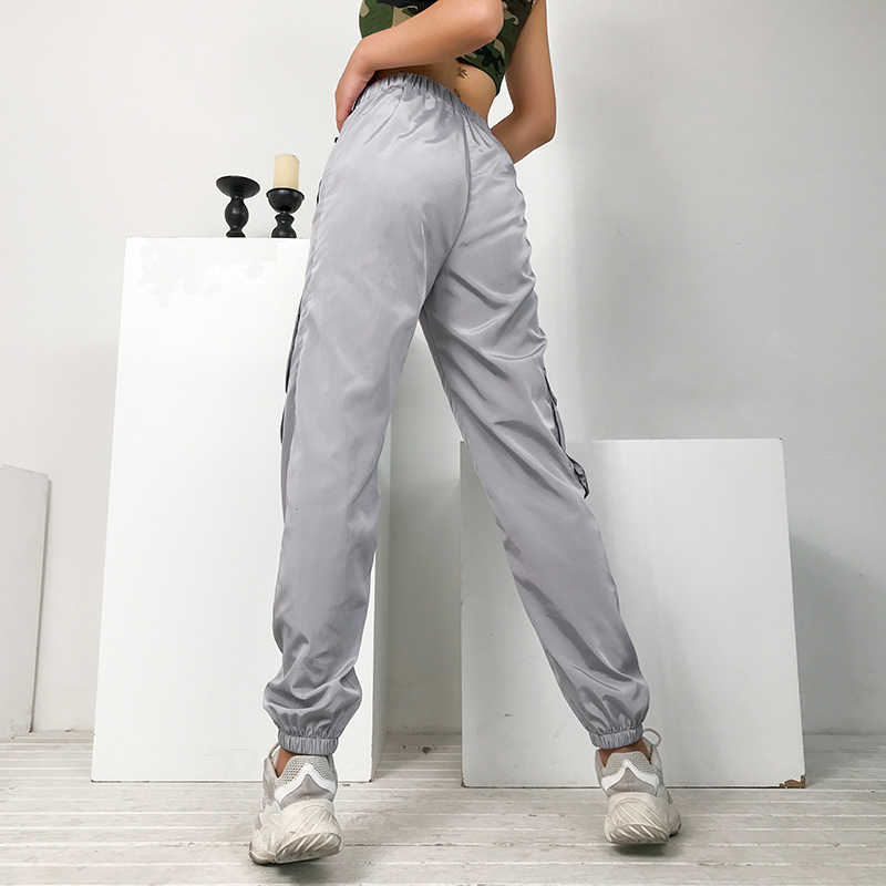 Rapwriter Лето Горячая эластичная высокая талия пластиковые пряжки серебряные брюки для женщин 2019 уличная Harajuku Большие Спортивные Брюки с карманами джоггеры