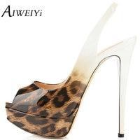 AIWEIYi Women S High Heels Peep Toe Sandals Sexy Leopard Print Pumps Shoes Platform High Heels