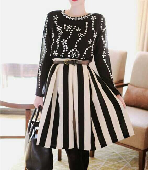 2016 Summer Women Fashion Plus Size XXS-8XL High Waist Black And White Vertical Stripe Chiffon Skirt Ladies Vintage Skirts Saia