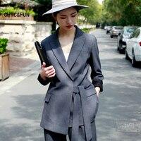 Высокое качество для женщин Длинные Костюмы Пиджаки для осень мода повседневное Bind показывает тонкая талия дамы Блейзер Женский Бренд