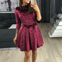 Misshow Autumn Winter Elegant O Neck Women Dress Half Sleeve Crushed Velour  Casual Female Clothing Warm Ball Gown 2019 be9c3a49972e