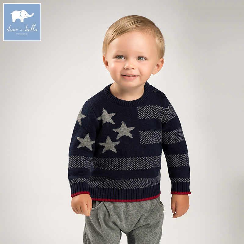 DB6213 dave bella herfst baby baby jongens katoen wol trui mooie kleding peuter kinderen gebreide Trui