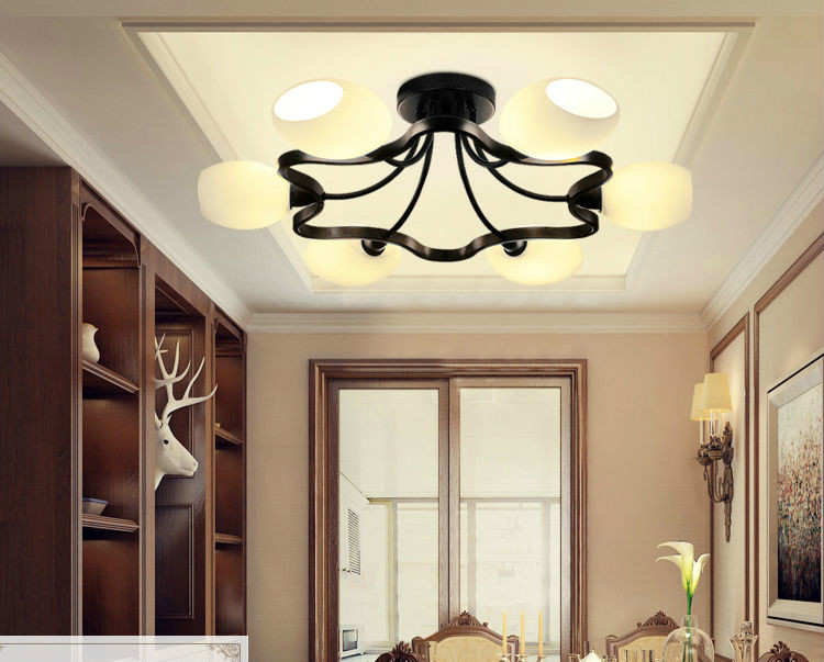 Creative design ring shaped Iron ceiling lights black vintage modern style suspension lamps concise glass indoor  living roomCreative design ring shaped Iron ceiling lights black vintage modern style suspension lamps concise glass indoor  living room