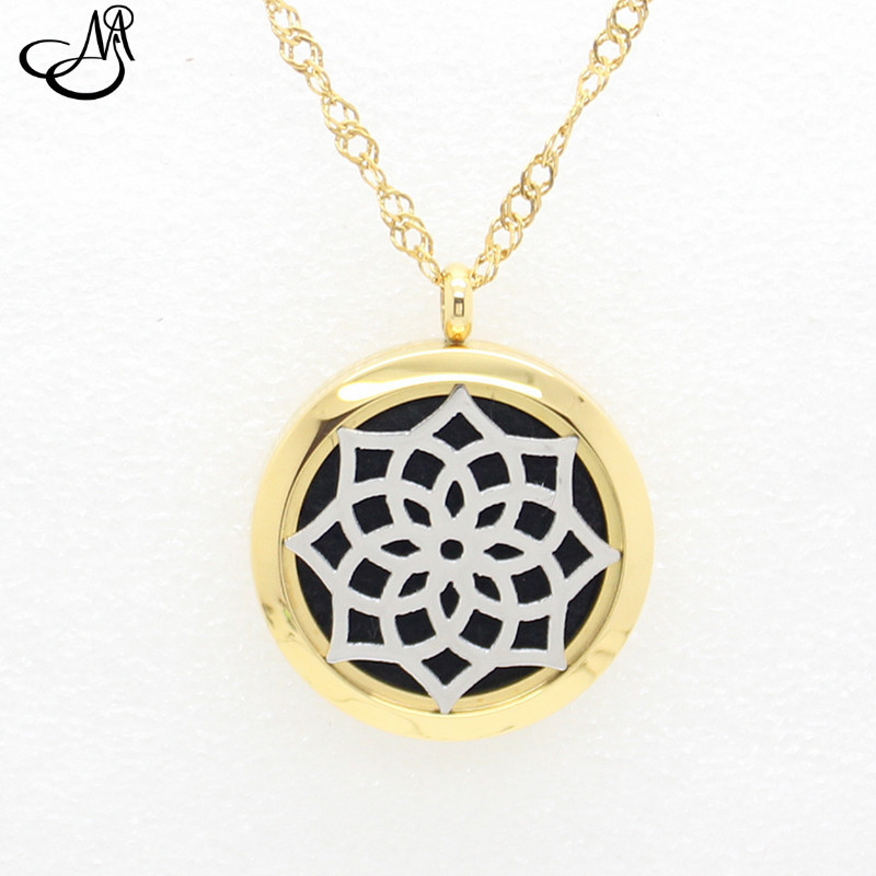 10pcs 316L Stainless Steel Essential Oil Diffusing Perfume Locket Aromatherapy Locket Pendant Necklace with Felt Pads SMG841