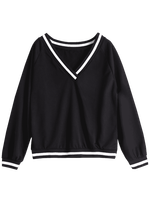 Women Fashion Long Sleeve Casual V-neck stripe Cricket Sweater Pullovers