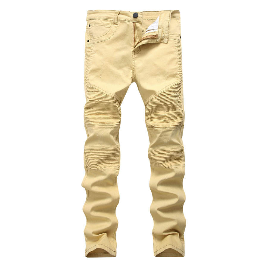 New Fashion Brand Designer High Elastic Khaki Ripped Jeans Men's Biker Jeans Pants Slim Fit Pleated Motocycle Denim Trousers