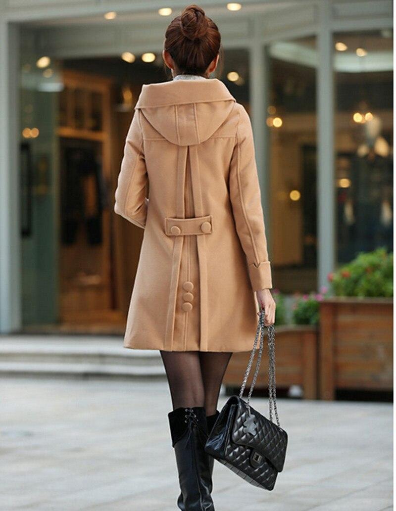 Makuluya 2016 autumn winter women coat slim woolen trench medium long plus velvet thicken hooded sweatshirt girl outerwear BK