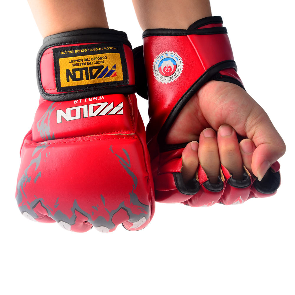 Mens leather gloves black friday - Red Boxing Sparring Glovesgrappling Mma Half Finger Gloves Combat Sanda Fighting Punching Bag Boxing Pu Leather