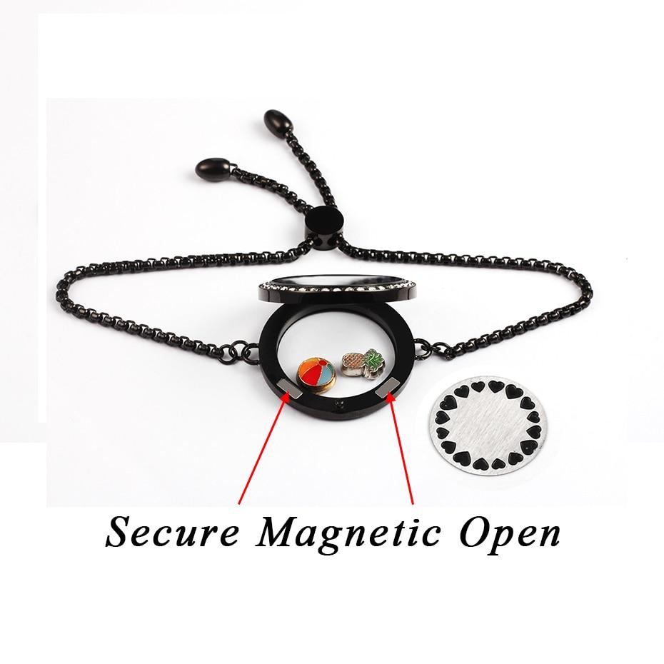 Черный плавающий жизни памяти Подвески медальон с кристаллами браслет 316L нержавеющая сталь каменные пластины хранения регулируемый браслет