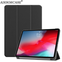 "11"" for Apple iPad Pro 11 2018 Tablet Case PU Leather Cases Solid Smart Sleep Protective Shell fold Kickstand PC Back Cover"
