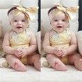 2017 Novo Verão 0-2 Anos de idade Do Bebê da menina Macacão, flor do bebê roupas de bebe, lace up clothing headband da menina da criança romper do bebê