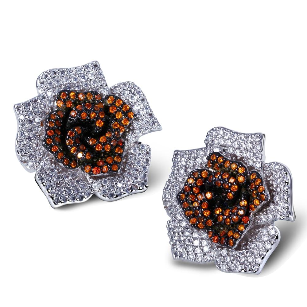 Sweet Look Romantic Women Five Color Flower Shape Studs Earrings Lead Free White Color Green Fuchsia Cubic Zirconia Jewelry
