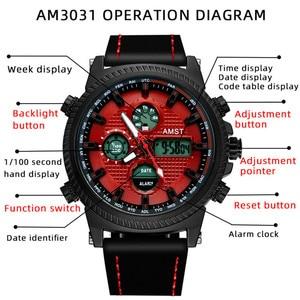 Image 5 - Amst 軍事腕時計 50 メートル防水レザーストラップ led 腕時計男性トップブランドの高級クォーツ時計リロイ hombre レロジオ masculino