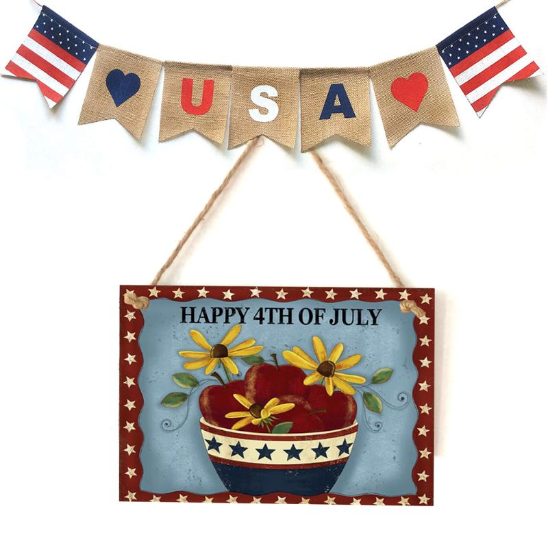 Vintage Wooden Hanging Plaque Happy 4th Of July Flower Sign Board Wall Door Home Decoration Independence Day Party Gift-in Plaques & Signs from Home & Garden
