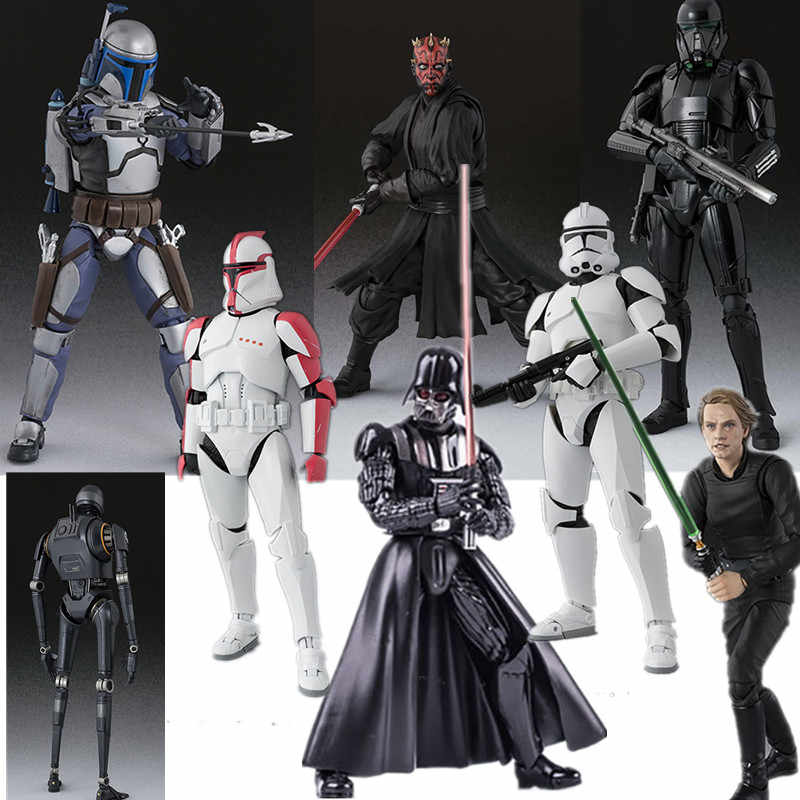 Star Wars Figuarts Darth Vader Rogue One K-2SO Darth Maul Jango Fett Clone Pasukan Tahap I Action Figures, Mainan