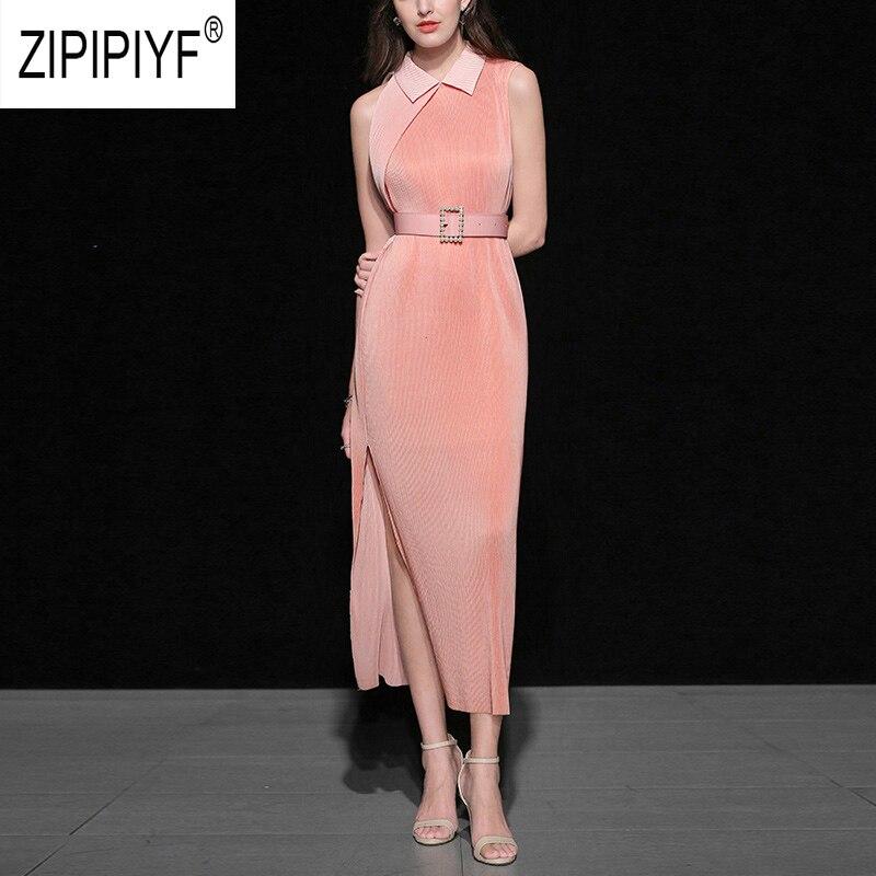 2019 ฤดูร้อนแฟชั่นผู้หญิงชุดคอสีทึบชุดยาวชุดราตรีสบายๆแฟชั่นชุด Z1035-ใน ชุดเดรส จาก เสื้อผ้าสตรี บน   1