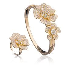 Newness Flower Super Full Micro Paved Cubic Zircon Luxury Daisy Silver Bangle Ring Set Nigerian Jewelry Set For Women