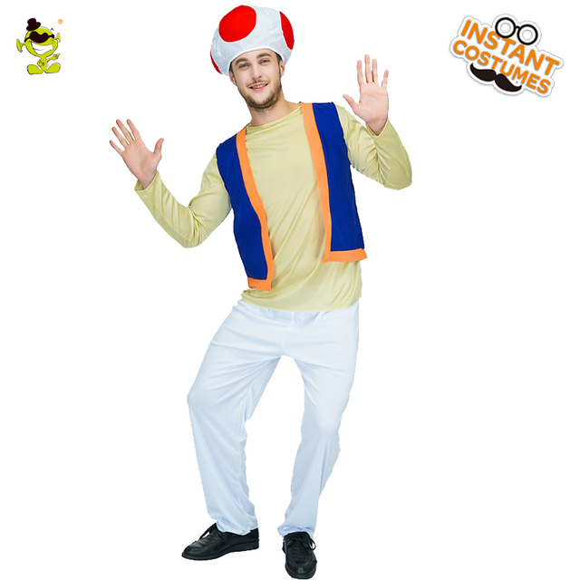 Muschroom Suit Costume Por Men S Toad Cosplay Party With A Blue Vest Fancy Dress