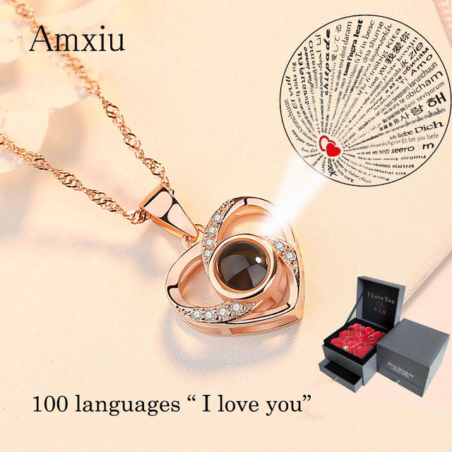Amxiu Custom 100 Languages I Love You Necklace 925 Silver Clavicular Chain Heart Pendant Necklace Women Jewelry Valentines Gift