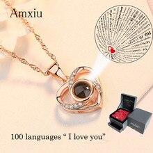 Amxiu personalizado 100 idiomas eu te amo colar 925 prata clavicular corrente coração pingente colar feminino jóias presente dos namorados