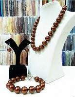 Hot sale new Style >>>>Big 14mm round chocolate South Sea Shell Pearl Necklace Bracelet Earring Set New