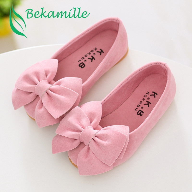 Girls Bow Leather Shoes Spring Autumn Children Princess Shoes Student Shoes New Kids Girls Baby Leisure Sneakers