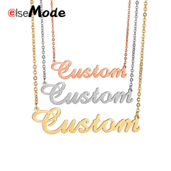 ELSEMODE Custom Name Necklace Gold Color Stainless Steel Custom Necklaces For Men Women Gift Nameplate Pendant Choker