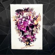 Beauty Body Shoulder Art Temporary Tattoo Sticker Purple Flower Bird Skull Design Waterproof Fake Tattoo Sleeve Leg Decal AHB362