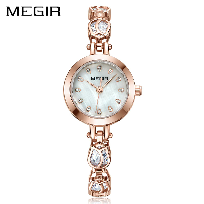 MEGIR 2017 Fashion Rose Gold Luxury Brand Women Quartz Watches  Ladies Watch for Lover Girl Wristwatches Clock Relogio Masculino tshing ray fashion women rose gold mirror cat eye sunglasses ladies twin beams brand designer cateye sun glasses for female male
