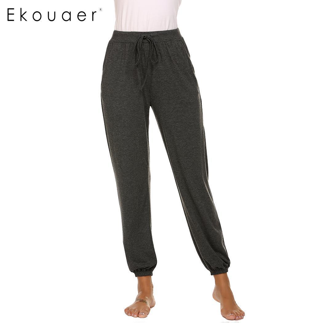 Ekouaer женский эластичный шнурок на талии длинный искусственный шелк пижама Нижняя Lounge нижнее белье брюки для сна мягкая одежда для сна