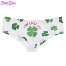 ce41409e1900 DorkyBae Lucky Clover white green funny print sexy hot panties kawaii  Lovely briefs push up underwear