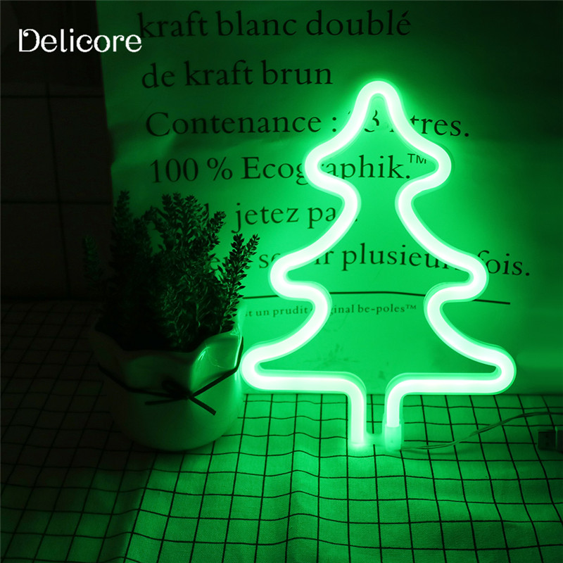 DELICORE New USB Battery Green Light Neon Lamp Holiday Light Tree Shaped LED Night Light Home Festival Christmas Decor S202