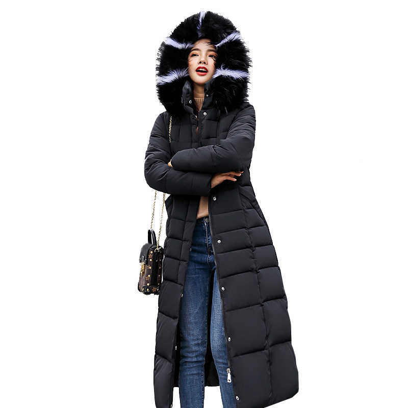 3b6b61f17737 Women Winter Jackets Black Faux Fur Hooded Military Long Parka 2018 Female  Cotton Padded Red Puffer