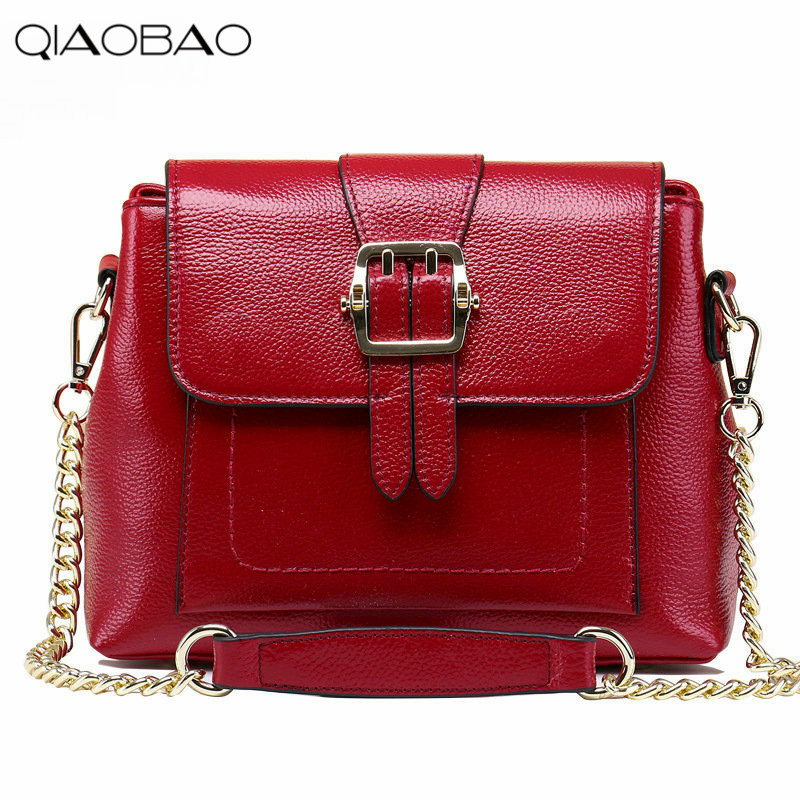 QIAOBAO Leather handbags Korean Fashion Head Layer Cowhide Rabbit Ear Chain Bag Shoulder Diagonal Cross Bag qiaobao women general genuine leather handbags tide europe fashion first layer of cowhide women bag hand diagonal cross package