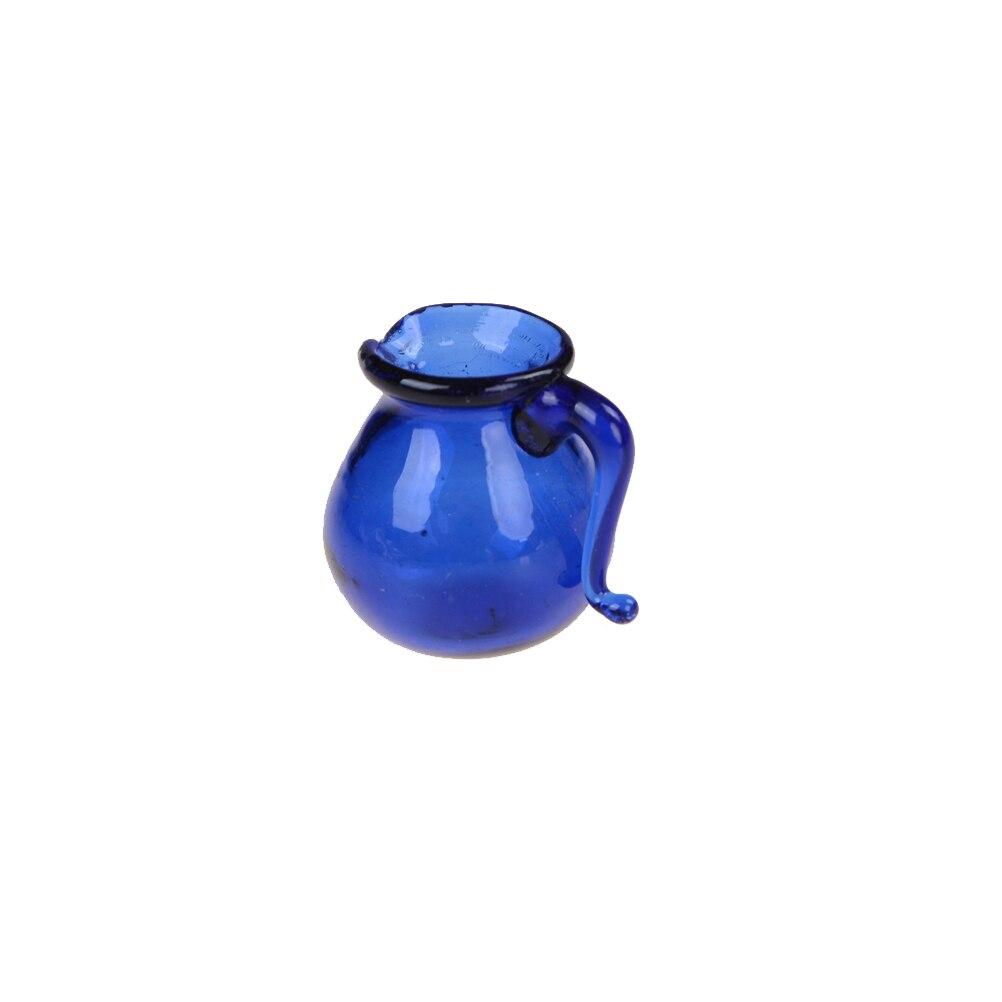 Dollhouse Miniature Water Jar Pot Dinning Room Blue Glass Water Pitcher Jar Pot 1/12 Scale Pretend Toy For Home Kitchen Decora