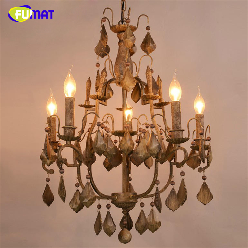 FUMAT American Loft Style Vintage Wooden Pendant Chandeliers Country Living Room Home Decor Light Dining Room LED Light Wooden ark light vintage rural style pendant light american wrought iron led pendant light cottage dining room living room study room