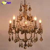 FUMAT American Loft Style Vintage Wooden Pendant Chandeliers Country Living Room Home Decor Light Dining Room