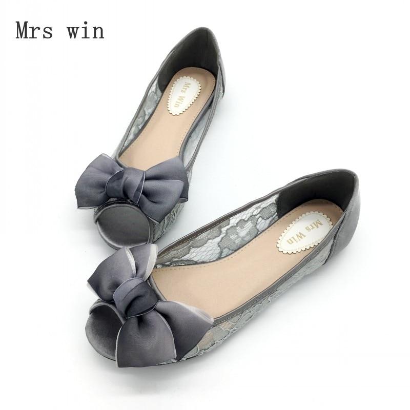 2018 Newest Shoes Women Fashion Female Ballet Flats Shallow Peep Toe Shoes Sexy Lace Ladies Shoes Work Footwear Plus Size Black
