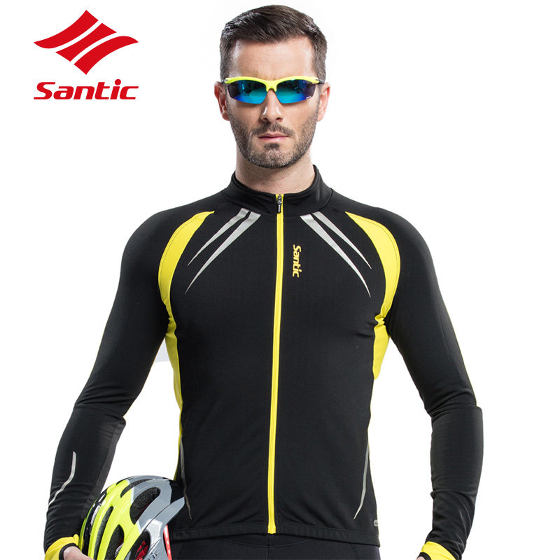 SANTIC Cycling Fleece Thermal Long Jersey Winter Jacket Windproof Bicycle Coat Outdoor Bike Jersey Cycling Clothing Coat Jacket men fleece thermal autumn winter windproof cycling jacket bike bicycle casual coat clothing warm long sleeve cycling jersey set